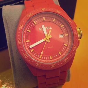 Fossil Watch. Orange face and silicone band.